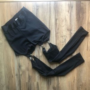 Black Suspender Clip Leggings